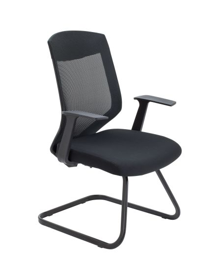 Vogue Black Cantilever Side Chair Black Mesh Back And Black Fabric Seat