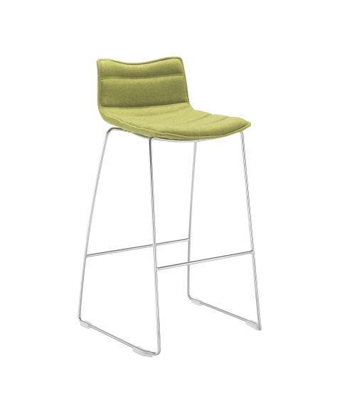 Milan Bar Stool With Chrome Skid Frame Unlimited Fabric