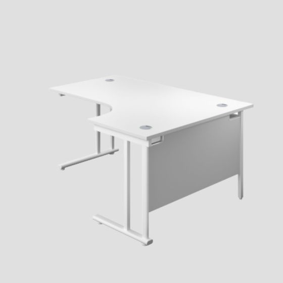 1600X1200 Twin Upright Right Hand Radial Desk White-White