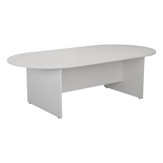 2400mm D-End Meeting Table - White