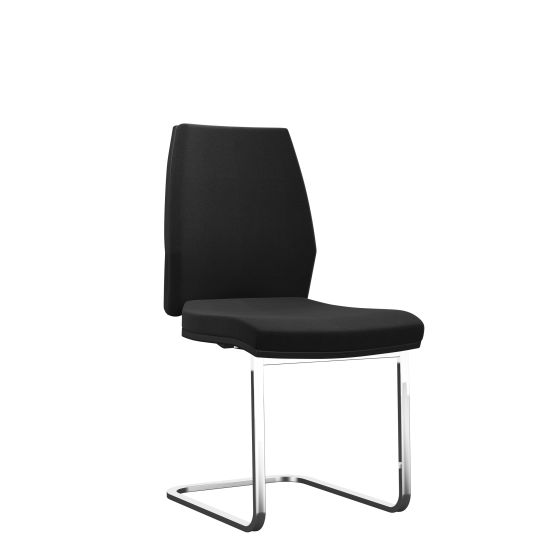 Rome Upholstered Visitor With Chrome Frame Black Plastic Unlimited Fabric