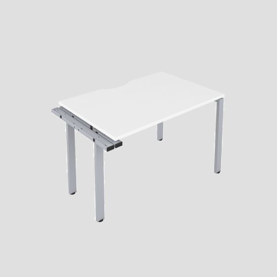CB 1 Person Extension Bench 1400 X 800 Cut Out White-Silver