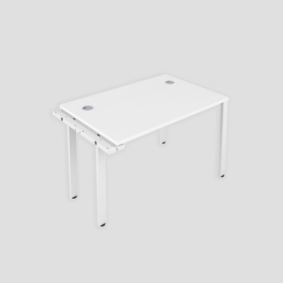 CB 1 Person Extension Bench 1600 X 800 Cable Port White-White