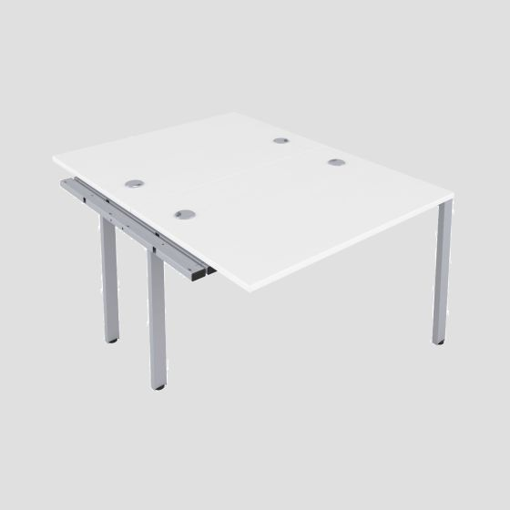 CB 2 Person Extension Bench 1200 X 800 Cable Port White-Silver