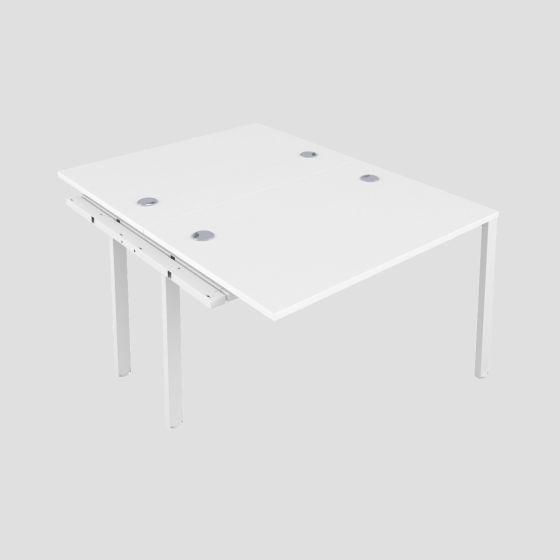 CB 2 Person Extension Bench 1200 X 800 Cable Port White-White