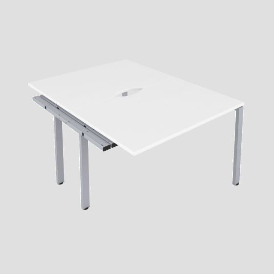 CB 2 Person Extension Bench 1400 X 800 Cut Out White-Silver