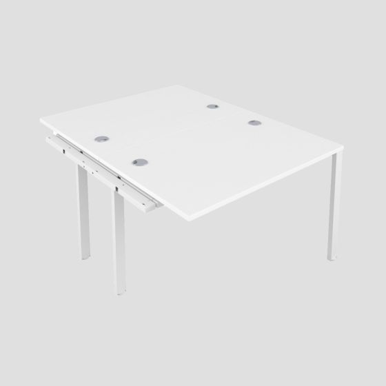 CB 2 Person Extension Bench 1600 X 800 Cable Port White-White