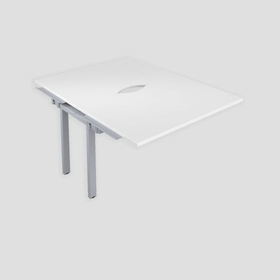 Premium 2 Person Bench Extension 1600 X 800 Cut Out White-Silver