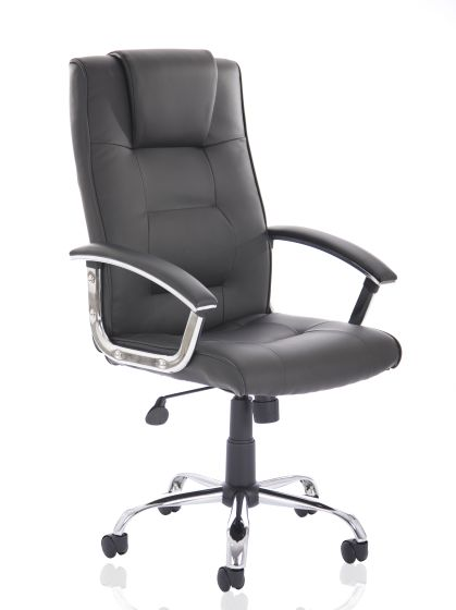 Thrift Executive Chair Black Soft Bonded Leather With Padded Arms
