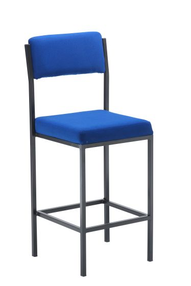 Cube High Stools With Back Rest Blue