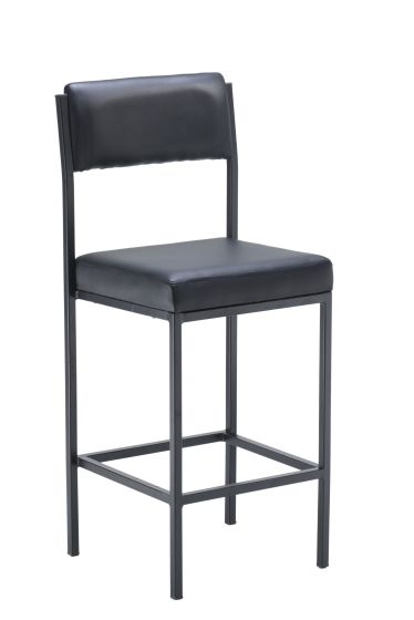 Cube High Stools With Back Rest Black Vinyl