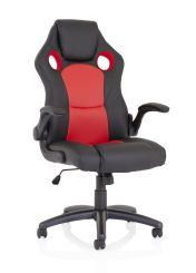 Enzo Racing Red and Black Soft Bonded Leather Chair