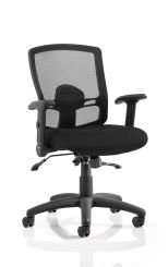 Portland II Task Operator Chair Black Mesh with Height Adjustable and Folding Arms