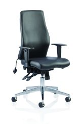 Onyx Ergo Posture Chair Black Soft Bonded Leather Without Headrest With Arms