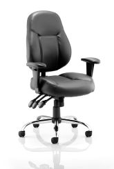 Storm Task Operator Chair Black Soft Bonded Leather With Arms