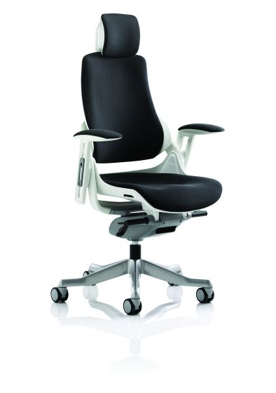 Zure Executive Chair Black Fabric With Arms With Headrest