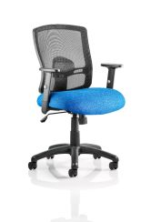 Portland Task Operator Chair Black Back Blue Airmesh Seat with Height Adjustable and Folding Arms