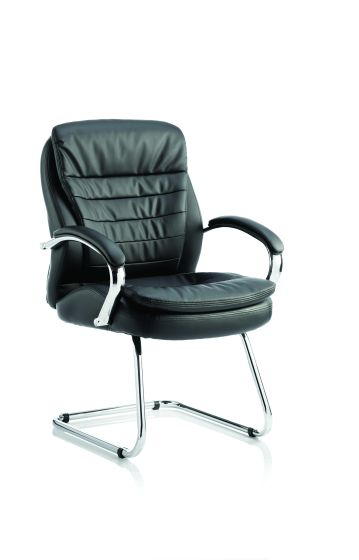 Rocky Cantilever Chair Black Leather High Back With Arms