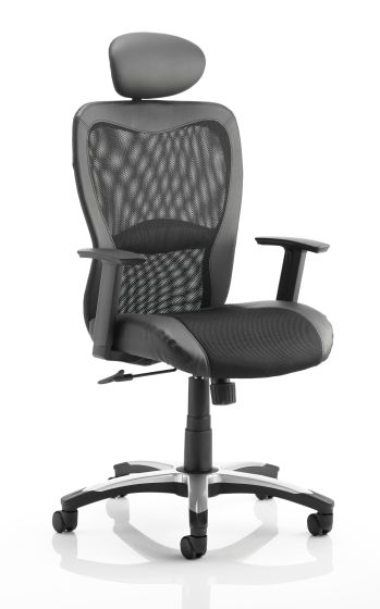 Victor II Executive Chair Black Leather Black Mesh With Arms With Headrest