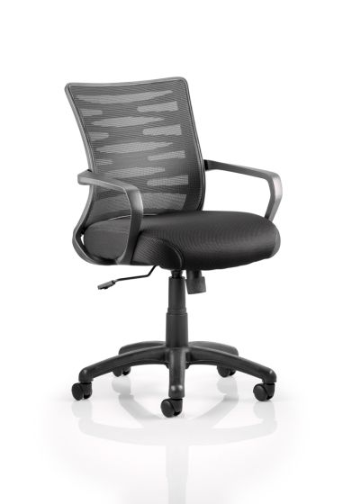 Vortex Task Operator Chair Black Mesh Back With Arms