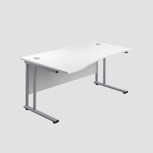 1400X1000 Twin Upright Left Hand Wave Desk White-Silver