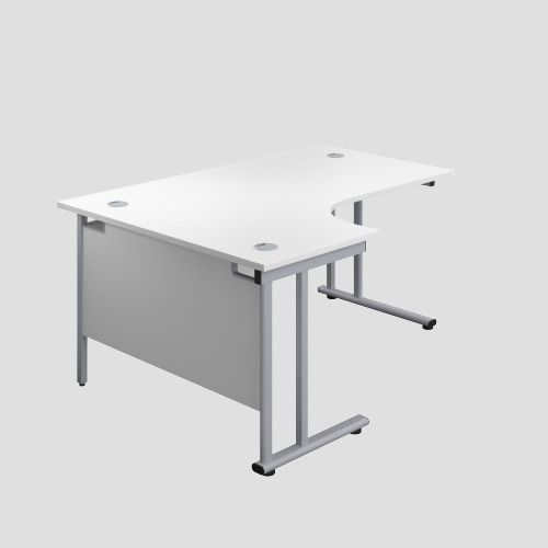 1400X1200 Twin Upright Left Hand Radial Desk White-Silver