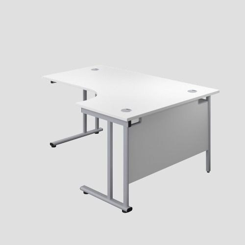 1400X1200 Twin Upright Right Hand Radial Desk White-Silver