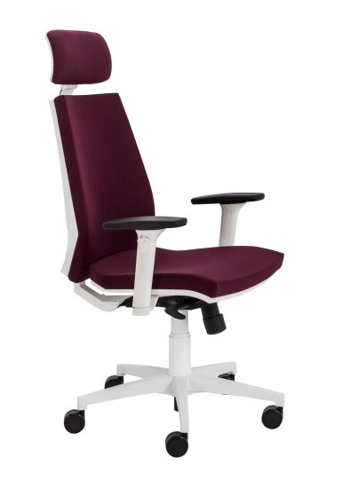 Rome High Back Chair With Headrest- White Frame Blackberry Fabric